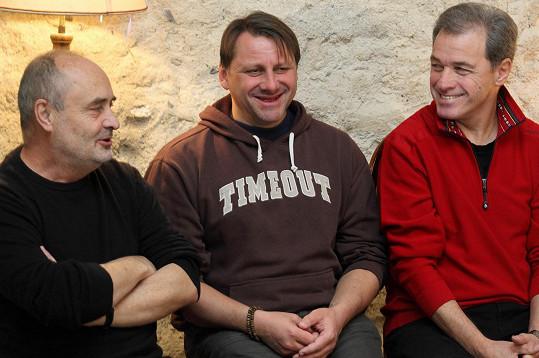 Radek Holub a Milan Hein představili na tiskové konferenci Ungeltu novou divadelní hru.