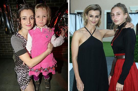 Ivana Jirešová s dcerou Sofií v roce 2009 a nyní.