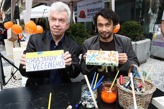 Pavel Liška a Jaroslav Svěcený se svými výtvory