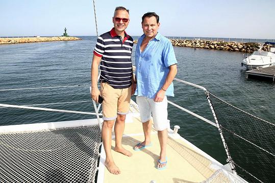 Pavel s Janisem na lodi