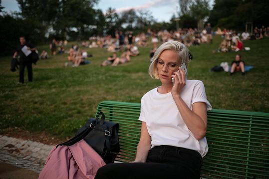 Barbora Bočková při natáčení