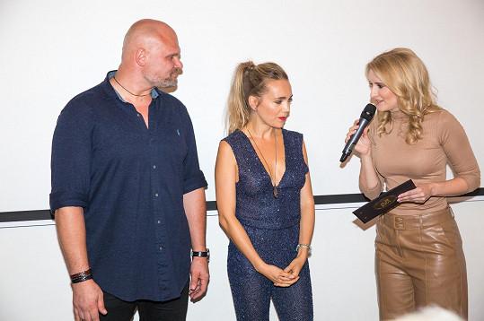 Lucka na křtu s Radimem a moderátorkou Lenkou Špillarovou