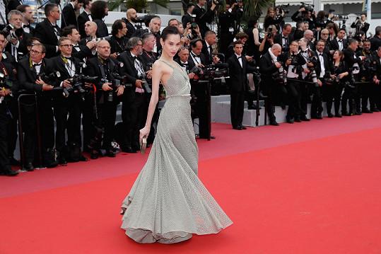 Herečka Kiko Mizuhara byla v couture modelu vytvořeném módním domem Dior přímo jí na míru úchvatná. Samet v barvě holubičí šedi překrývá hedvábná síťovina, což působí plasticky. Zároveň je ale model velmi jednoduchý.