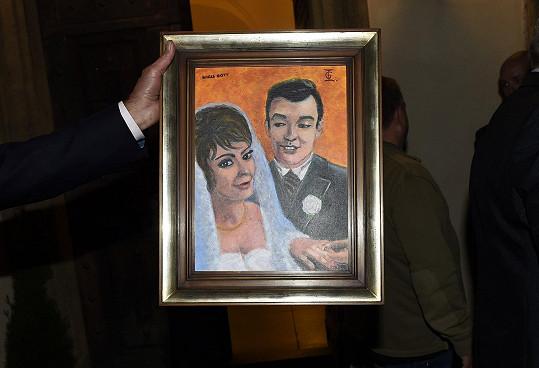 Jiřina Bohdalová dostala od Karla Gotta obraz.