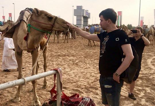 V Dubaji se Ondřej mazlil s velbloudem a Lukáš ho fotil.