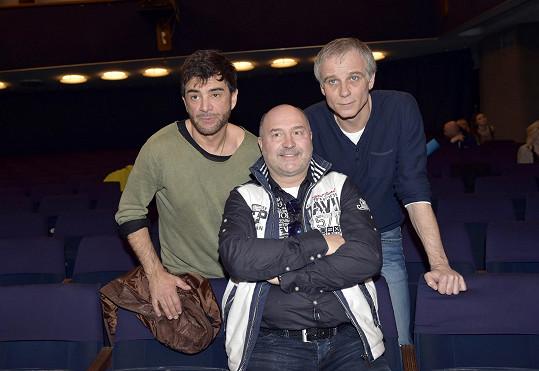 Michal David se Sagvanem Tofim a Lukášem Vaculíkem na castingu do muzikálu Děti ráje