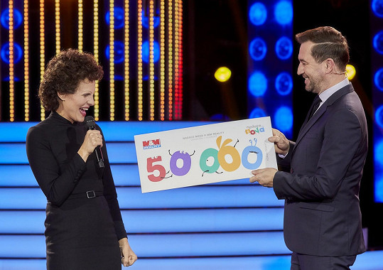 The actress won the whole part and won 50,000 krona for charity purposes.