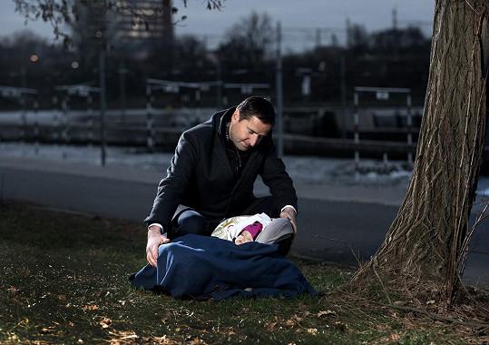 Robert Záruba s miminkem