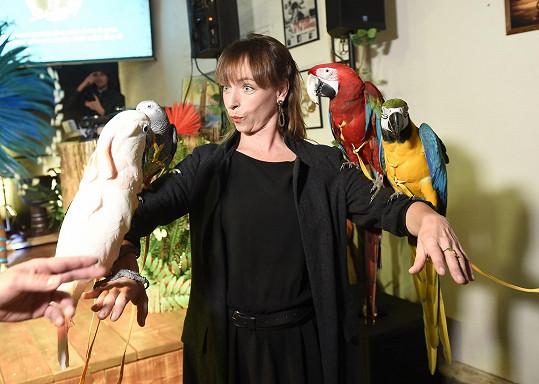 Užila si pózování s papoušky.