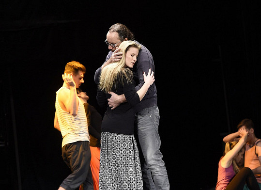 Míša s Marianem Vojtkem na divadelní zkoušce