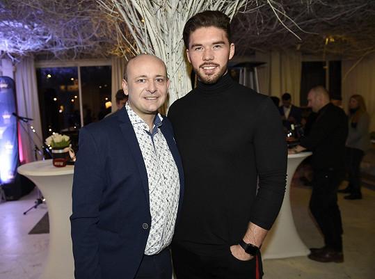 Matyáš s Davidem Novotným na tiskové konferenci Miss Czech Republic