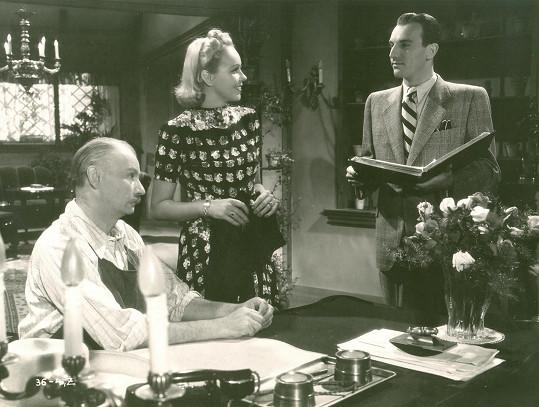 S Gustavem Hilmarem a Jiřinou Sedláčkovou v komedii Eva tropí hlouposti (1939).
