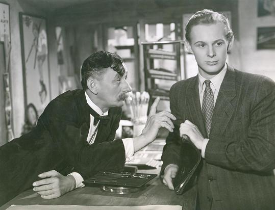 S Vlastou Burianem v jeho posledním protektorátním filmu Zlaté dno (1942).