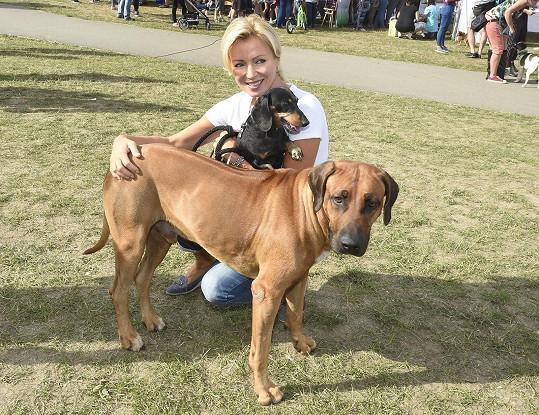 S sebou měla oba své mazlíčky, jezevčíka Maxe a ridgebacka Jordiho.