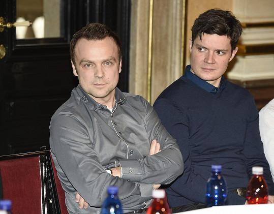 Tomáš Šulaj spolu s dalším nominovaným hercem Janem Medunou, expřítelem muzikálové zpěvačky Markéty Procházkové.
