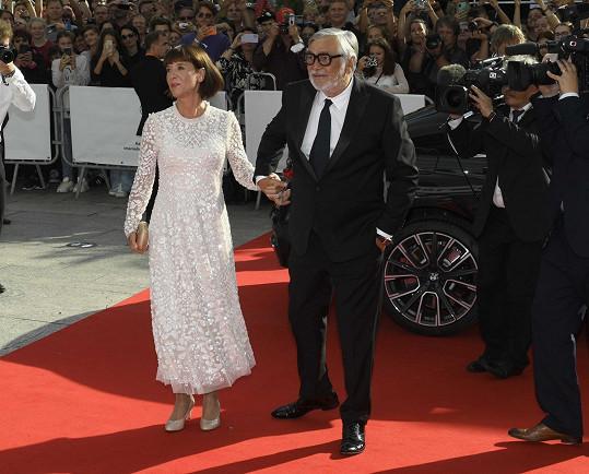 Prezident filmového festivalu Jiří Bartoška s chotí Andreou