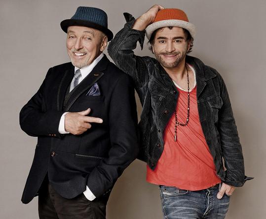 Karel Gott a Sagvan Tofi při oznámení muzikálu