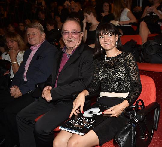 Petr Janda a Alice Jandová v hledišti na muzikálu Fantom opery