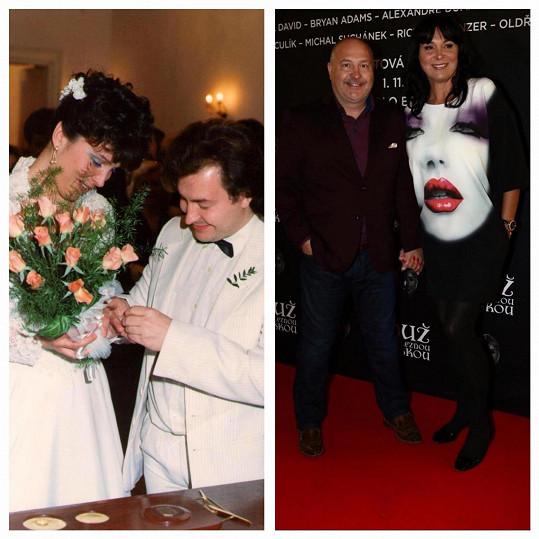 Michal David na svatební fotce (vlevo). S manželkou je šťastný dodnes.