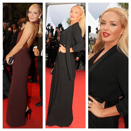 V Cannes si Táňa, jako většinou, oblékla šaty od Ivany Mentlové.