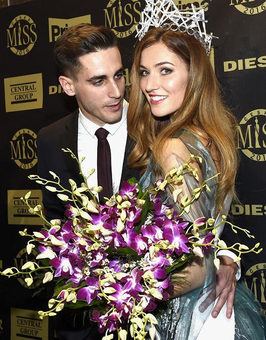 Andrea s expartnerem Martinem po jejím zvolení královnou krásy