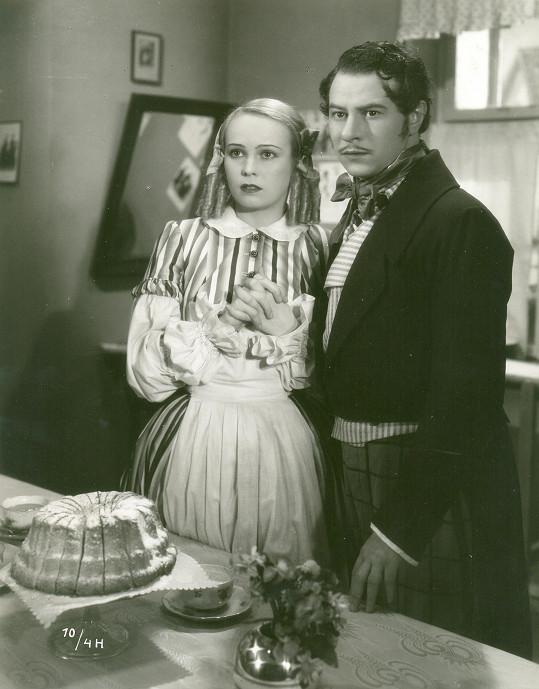 Jiřina Sedláčková a Ladislav Pešek v hlavních rolích filmu Děvče z předměstí (1939)