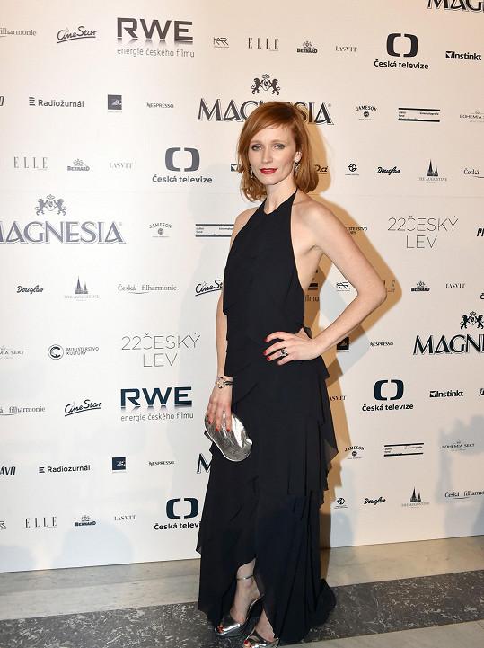 Aňa Geislerová pro tuto příležitost oblékla model s americkými průramky tvořený jednoduchými volány. Šaty z řetězce H&M rafinovaně odhalovaly kůži, a daly tak příležitost vyniknout výrazným diamantovým šperkům značky Roberto Coin.