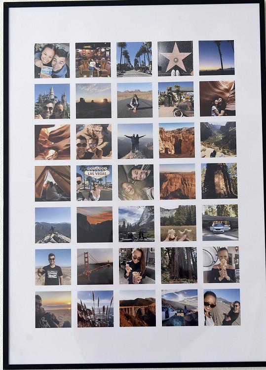 Zdi bytu zdobí fotky a obrazy se vzpomínkami na svatbu, dovolené a kamarády.