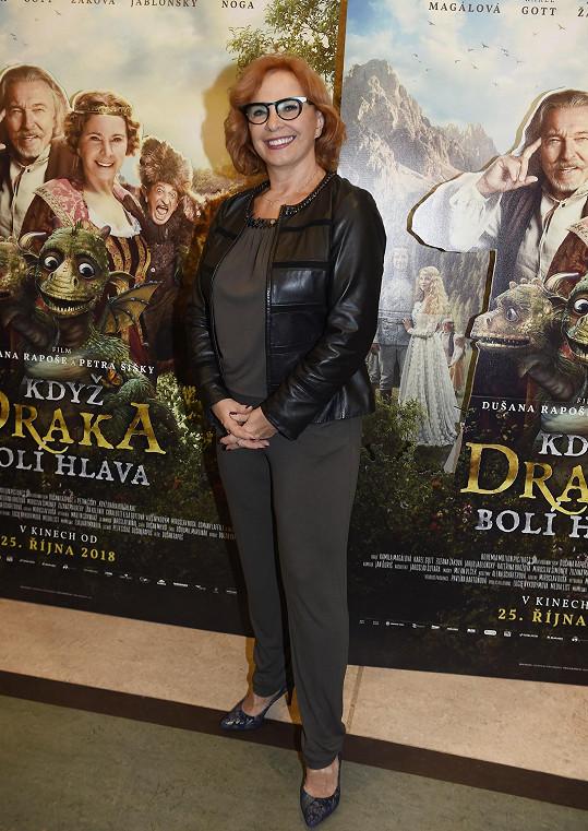 Kamila Magálová na premiéře pohádky Když draka bolí hlava