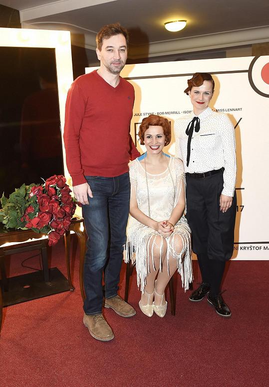 Monika Absolonová s režisérem Ondřejem Sokolem a kolegyní Kristýnou Novákovou