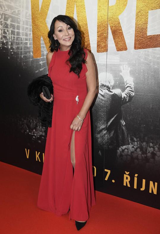 Heidi Janků na premiéře dokumentu Karel