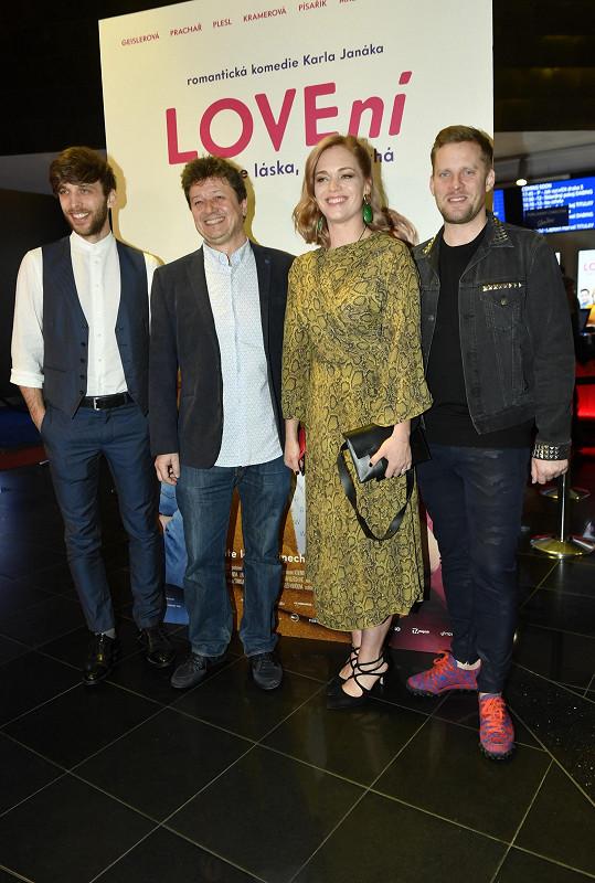 S částí herecké delegace - Romanem Tomešem, Ester Geislerovou a Jakubem Prachařem