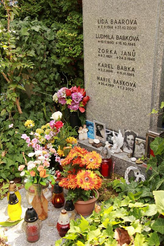 Místo posledního odpočinku Zorky Janů a její starší sestry Lídy Baarové zdobí fotografie obou hereček.