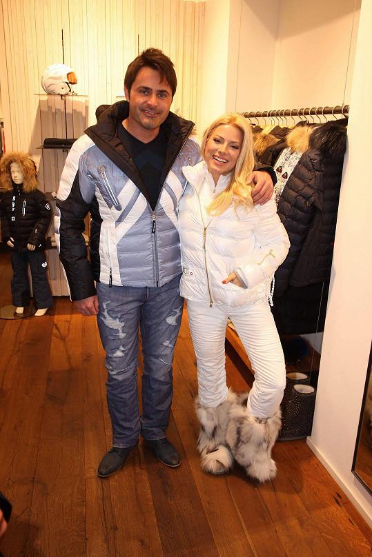 Na akci, kde se představovala móda na hory, s kolegou Mirkem Šimůnkem.