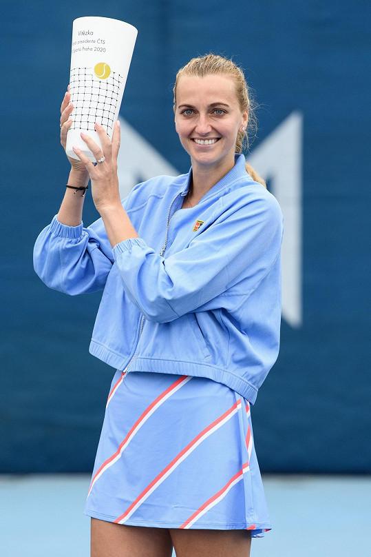 Petra Kvitová měla úspěšný rok. Na snímku po vítězství na tenisovém turnaji O pohár prezidenta ČTS, dne 28. května 2020 v Praze.