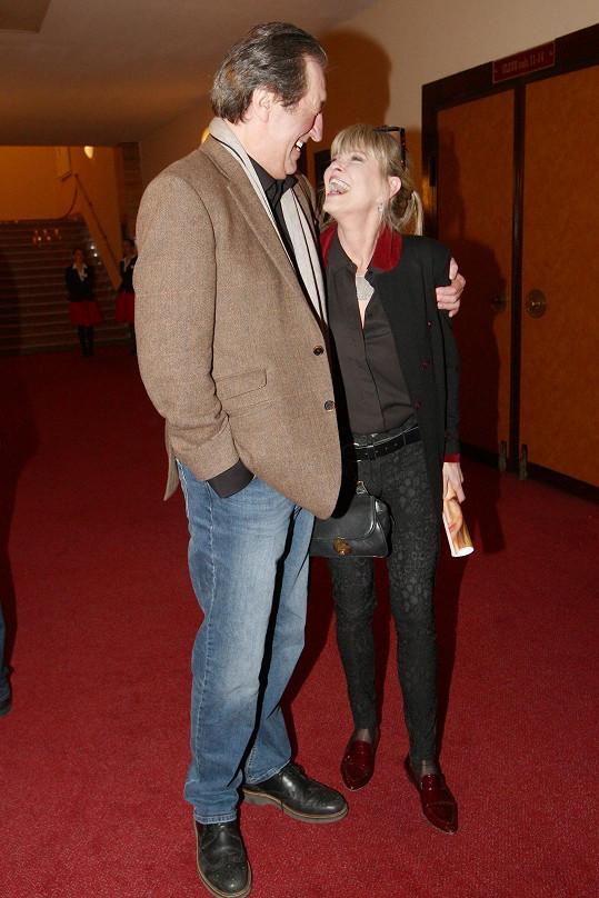 Bolek Polívka a Chantal Poullain se potkali na premiéře inscenace Věra, kterou uvedlo divadlo Studio DVA.