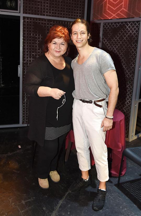 S kolegou Milanem Peroutkou na zkoušce v Divadle Broadway
