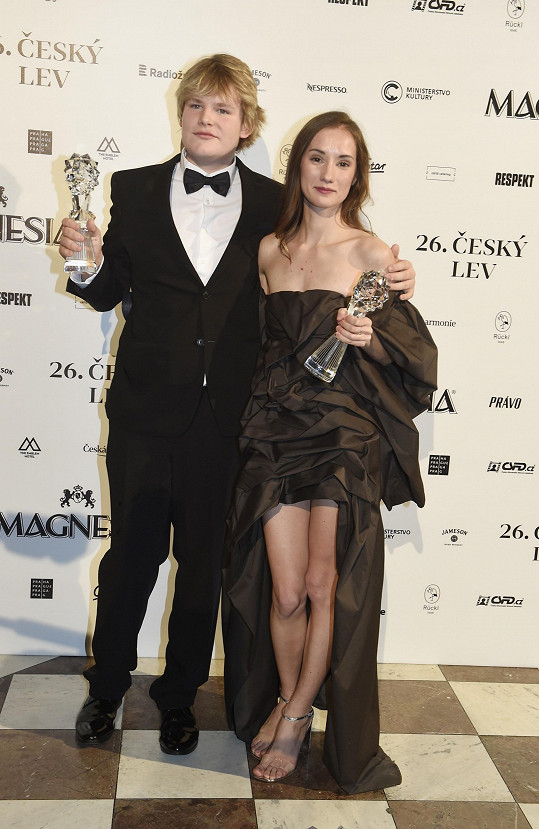 ...ale i s filmovým kolegou Janem Františkem Uherem, který získal stejné ocenění v mužské kategorii.