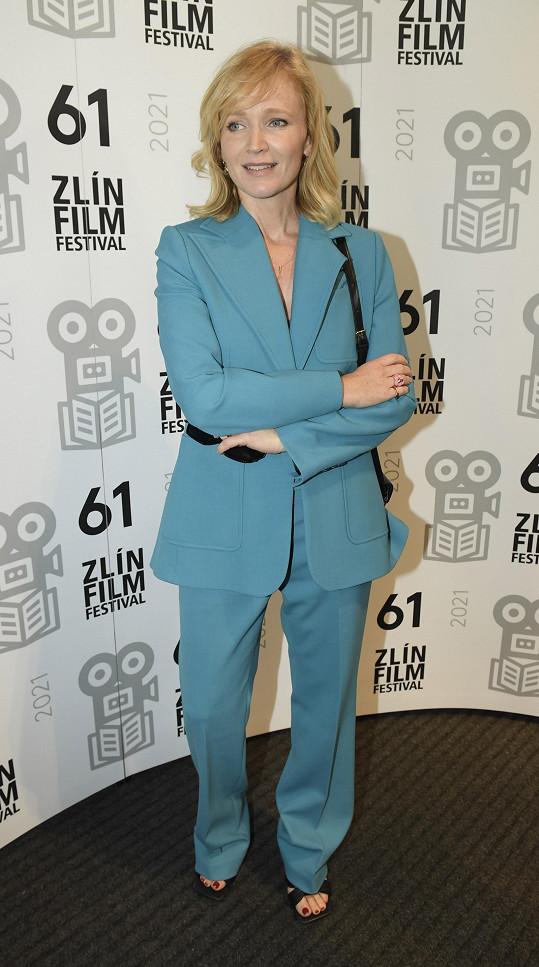 Aňa Geislerová na tiskové konferenci zlínského filmového festivalu pro děti a mládež