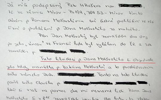 Ukázka z čestného prohlášení o vraždě Jana Moťovského.