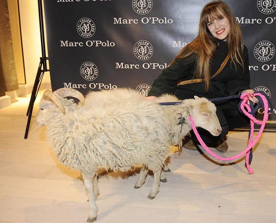 A stejně jako ostatní zúčastnění si nenechala ujít pohlazení oveček, které byly na opening přivezeny.