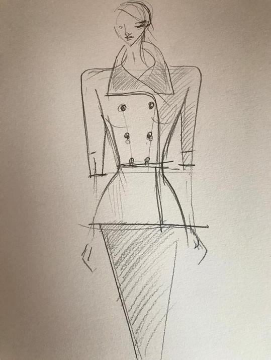 Návrh kostýmů pro slovenskou prezidentku.