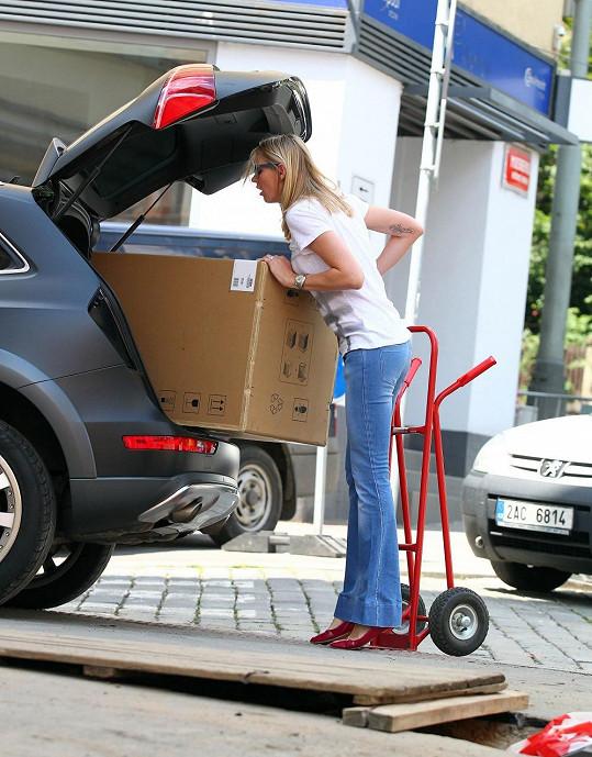 Diana vlastnoručně narvala obří krabici do svého vozu.