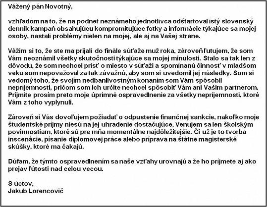 Omluvný dopis Lorencoviče Davidu Novotnému.