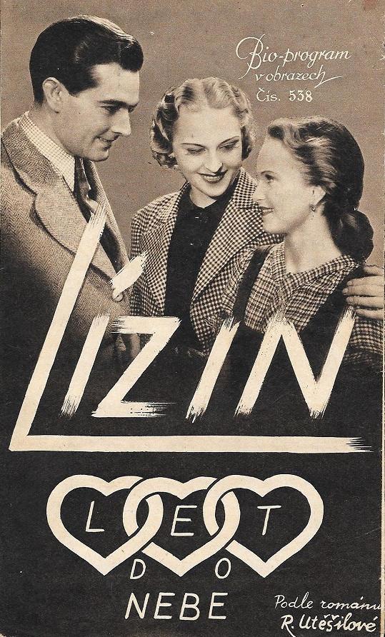 Program k filmu Lízin let do nebe (1937), kde Wanka hrál se Zitou Kabátovou a Zdenou Sulanovou.