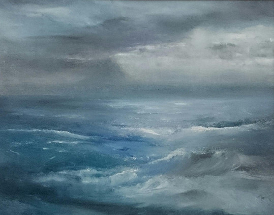 Takhle vypadá moře na jednom z hereččiných obrazů...