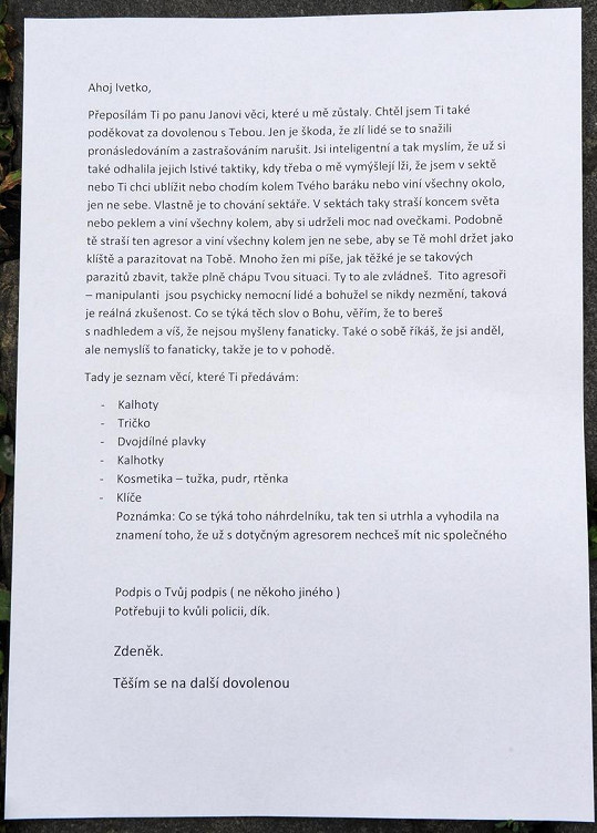 Macura napsal Ivetě dopis.