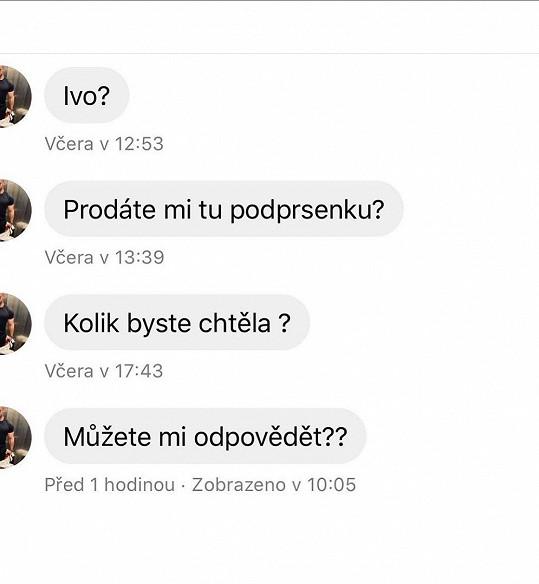 Úchyl nabízel Ivě Kubelkové za použité prádlo peníze. Moderátorka jeho zprávy zveřejnila.