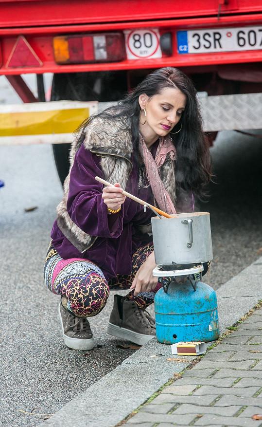 Markéta Procházková během natáčení.