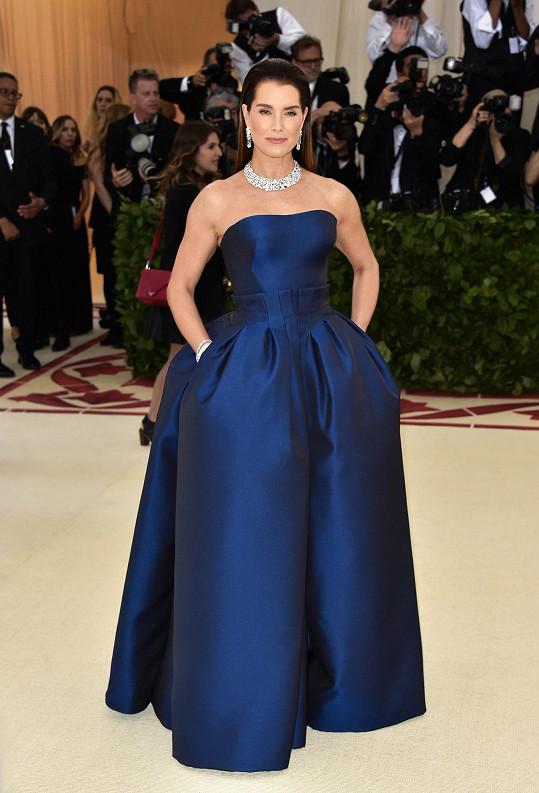 Klasické tulipánové šaty Zac Posen bez ramínek v sobě příliš náboženské symboliky nenesly. Zato šperky Brooke Shields ze šperkařství Tiffany & Co. působily nadpozemsky.
